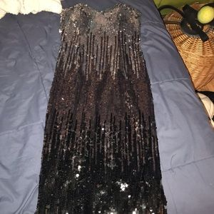 Night moves strapless sequin long dress (6727)